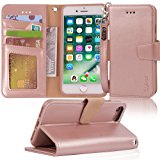 iphone 7 case, iPhone 8 case, Arae PU leather wallet Case with Kickstand and Flip Cover for iPhone 7 (2016) / iPhone 8 (2017) - Rosegold