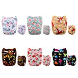 Alva Baby New Printed Design Reuseable Washable Pocket Cloth Diaper 6 Nappies + 12 Inserts 6DM38