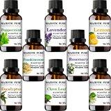 Majestic Pure Aromatherapy Essential Premium Oils Set, Includes Lavender, Frankincense, Peppermint, Eucalyptus, Lemon, Clove Leaf, Cinnamon Leaf & Rosemary Oils- Pack of 8 - 10 ml each