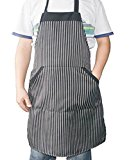 i COVER Classic Chalk-Stripe Professional quality Commercial and Home Use Bib Apron, adjustable neck strap, long ties, big pocket, larger apron, heavier fabric, more durable AP101