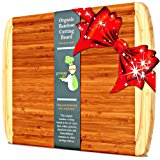 Greener Chef Bamboo Cutting Board - EXTRA LARGE KING SIZE & ORGANIC WOOD - LIFETIME REPLACEMENT WARRANTY - Best Christmas Gift & Holiday Wooden Carving Board with Juice Groove