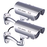 Fake Security Camera, Dummy Cameras CCTV Surveillance System with Realistic Simulated LEDs for Home Security + Warning Sticker Outdoor/Indoor Use, Pack of 2 by IDAODAN