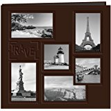 "Pioneer 12-Inch by 12-Inch Collage Frame Embossed ""Travel"" Sewn Leatherette Cover Memory Book, Brown"
