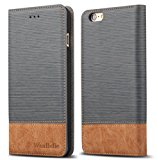 """iPhone 6s Plus 5.5"""" Wallet case,WenBelle [Blazers Series] Wallet-Style,Stand Feature, isal Fabric and Leather-Look Design Wallet Cover Flip Cases For Apple iPhone 6 Plus / 6s Plus 5.5 inch,Grey"""