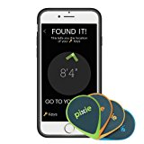 Pixie (4-pack) – Find your lost items faster by SEEING where they are. Lost item tracker/finder for Keys, Luggage, Wallet (iPhone 7 Plus case included)