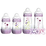 MAM Feed & Soothe Bottle & Pacifier Gift Set, Girl, 0+ Months, 6-Count