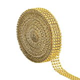eBoot 4 Row 10 Yard Acrylic Rhinestone Diamond Ribbon for Wedding Cakes, Birthday Decorations, Baby Shower Events and Arts and Crafts Projects (Gold)