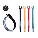 Reusable Cable Ties, 50PCS Trilancer Velcro Cord Wraps in 8 Inches, Adjustable Strap Fastener, Fastening Hook and Loop, 4 Color Microfiber and Nylon Cable Organizer, Wire Management