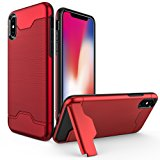 iPhone X Case, Allovit Shockproof Heavy Duty Full Protective Cover with Kickstand Dual Layer Wallet Design Case for Apple iPhone X (Black)