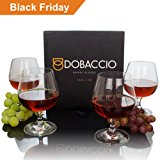 Dobaccio Brandy Glasses - Finest Crystal Clear Drinking Cups - Set of 4 Glass Snifters