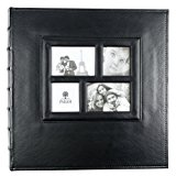 PARAH LIFE Premium 500 Photo - Family Wedding Anniversary Baby Vacation Album Sewn Bonded Leather Book Bound Bi-Directional 500 4x6 Photos 5 Per Page. - Large Capacity Deluxe Customizable (Black)