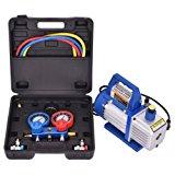 Goplus 4CFM 1/3HP Air Vacuum Pump HVAC Refrigeration Kit AC Manifold Gauge Set R134