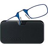ThinOPTICS Reading Glasses + Black Universal Pod Case | Classic Collection, Blue Frames, 1.50 Strength,