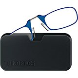 ThinOPTICS Reading Glasses + Black Universal Pod Case | Classic Collection, Blue Frames, 1.50 Strength,