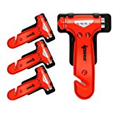 4 PCS of IPOW Car Safety Antiskid Hammer Seatbelt Cutter Emergency Class/Window Punch Breaker Auto Rescue Disaster Escape Life-Saving Hammer Tool,Small