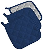 "DII Cotton Terry Pot Holders, 7x7"" Set of 3, Heat Resistant and Machine Washable Hot Pads for Kitchen Cooking and Baking-Nautical Blue"