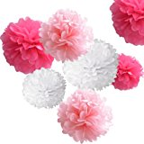 "18pcs Tissue Hanging Paper Pom-poms, Hmxpls Flower Ball Wedding Party Outdoor Decoration Premium Tissue Paper Pom Pom Flowers Craft Kit (Pink& White), 8""/ 10""/ 12"""