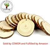 "CEWOR 15pcs 3""-3.5"" Natural Wood Slices Unfinished Predrilled Round Discs Tree Bark Wooden Circles for DIY Crafts"
