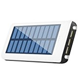 Solar charger 24000mah HuaF Portable Charger Power Bank 3 USB Ports(1A+2A+2A) Backup Battery For iPhone iPad Samsung HTC Cellphones Tablet And More