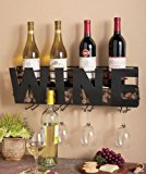 """Premium Black Wall Mount Metal Wine Rack With """"Wine"""" Word By Besti – Hanging Bottle & Corks, Wine Glasses Holder Storage, Decorative Display – Sturdy Construction – Home Décor For Living Room Or Kitchen"""
