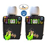 2 Pack Kick Mats with Tissue Holder, Waterproof Car Seat Back Protector with Organizer Storage Pocket –Universal Fit - by Termichy (2-Black)