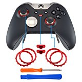 eXtremeRate Matte Chrome Red Profile Switch Buttons Accent Rings Accessories Parts for Xbox One Elite Controller Pack of 2