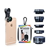 5 in 1 Universal Clip On Cell Phone Camera Lens Kit for iPhone 7/7 Plus /6s/6s Plus/6/5, Samsung S7/S7 Edge & Most Smartphones