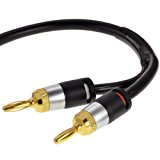 Mediabridge 16AWG ULTRA Series Speaker Cable w/ Gold Plated Banana Tips (6 FT) - CL2 - 99.9% Oxygen Free - Black (SWT-06B)