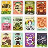 Mushy Moments Baby Milestone Photo Cards Gift Set. Complete with Keepsake box and infographic. New Baby / Baby Shower Gift.
