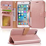 Iphone 6s Plus Case, iphone 6 plus case, Arae [Wrist Strap] Flip Folio [Kickstand Feature] PU leather wallet case with ID&Credit Card Pockets For Iphone 6 plus / 6S Plus 5.5, rosegold