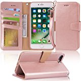 iphone 7 plus case, iPhone 8 plus case, Arae PU leather wallet Case with Kickstand and Flip Cover for iPhone 7 plus (2016) / iPhone 8 plus (2017) - Rose Gold