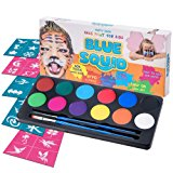 Blue Squid Face Paint Kit | 12 Color, 30 Stencils, 2 Brushes | Best Value Quality Party Pack for Kids | Vibrant Water Based Painting Set Non-Toxic FDA Approved | +BONUS Free Online Tutorial