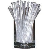 Royer 6 Inch Plastic Round Top Swizzle Sticks, Set of 48, Crystal - Made In USA