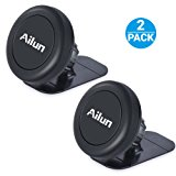 Car Phone Mount,Key Holder,by Ailun,[2Pack] Stick-on Dashboard Magnetic Car Mount Holder,for iPhone 7/6/6s Plus,Samsung Galaxy S7/S7 Edge,S6/S6 Edge+ Galaxy Note 5 and ALL Other Smartphones[Black]