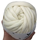 Merino Wool Super Chunky Yarn- Bulky Roving Yarn for Finger Knitting,Crocheting Felting,Making Rugs Blanket and Crafts by FLORAKNIT (Cream, Chunky-40mm-1.1LB)