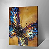 """MADE4U [Impressionism Series 2] [20""""] [Thicker (1"""")] [Wood Framed] Paint By Numbers Kit with Brushes and Paints (The Blue Butterfly HHGZGX8217)"""