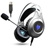 Jeecoo Gaming Headset USB Stereo Bass Gaming Headphones Over-ear PC Headset with Microphone for PC Computer Laptop Smart Phone - Silver