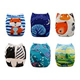 Babygoal Baby Adjustable Reuseable Positioning Pocket Cloth Diaper Nappy 6pcs+ 6 Inserts 6YDB07