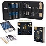 Professional Art Kit - Sketching & Drawing Set - Art Supplies – 33 - piece set with case – Pencils – Graphite – Charcoal – Erasers – Sharpeners - eBook included