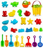 Sand Play Set with Animal Molds, Models and Garden Tools 28 Pc | Multicolor Beach Sand Castle Bucket Kit Including Multiple Shaped Sand Molds for Pool | Beach | Backyard | Sandbox - Ages 3+ Assorted