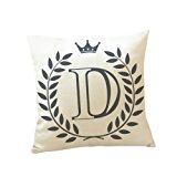 Usstore 1PC Decorative Pillowcases Letters Pattern Print Waist Throw Pillow Cover Cafe Home Decoration for Living Sofas Beds Room (D)