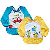 Leyaron Unisex Infant Toddler Baby Waterproof Sleeved Bib, Blue Car and Yellow Giraffe, Set of 2, 6 Months-3 Years