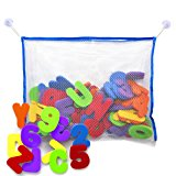 Bath Letters and Numbers with Bath Toy Organizer. Educational Bath Toys with Premium Bath Toy Storage