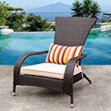 Sundale Outdoor Deluxe Wicker Adirondack Chair Outdoor Patio Yard Furniture All-weather with Cushion and Pillow