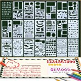GeMoor 20 Pcs Bullet Journal Stencil Set 1000+ Patterns Plastic Planner DIY Durable Drawing Template for Notebook Diary Scrapbook Craft Projects 4 x 7 Inch …