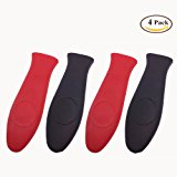 4 Packs BoomYou Silicone Hot Handle Holder Set Kitchen Heat Resistant Fry Pan Milk Pot Sleeve Grip Handle Cover Potholder for Cast Iron Skillets Griddles Metal & Aluminum Cookware ( Black & Red )