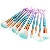 Makeup Brush Kit Cosmetics Set,Cinidy 10pcs Mermaid Makeup Brushes Kabuki Foundation Powder Cream Eyebrow Eyeliner Blush Cosmetic Concealer Brush