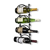 WALLNITURE Wrought Iron Curved Wall Mounted Wine Bottle Storage Rack Black Set of 4