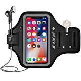 """iPhone X Armband, JEMACHE Water Resistant Gym Sport Running Workout/Exercise Arm Band Case for iPhone X with Key/Card Holder 6.5"""" Extender"""