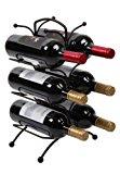 Finnhomy 6 Bottle Wine Rack with Handle Bar, Wine Bottle Holder Free Standing Wine Storage Rack Iron, Brozen